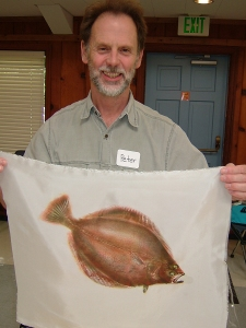 Peter Boyle holding his own fish print